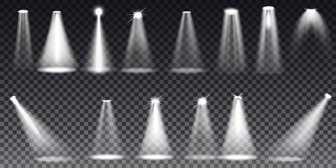 Scene illumination collection, transparent effects. Bright lighting with spotlights. Vector Illustration