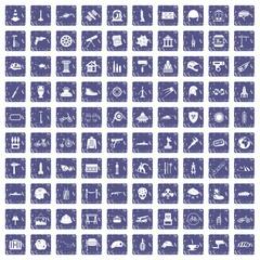 100 helmet icons set grunge sapphire