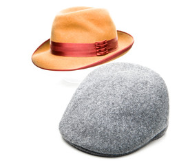 Fedora Hat Tweed Cap White Background