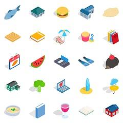Cubby icons set, isometric style