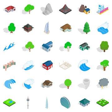 Landscape icons set, isometric style