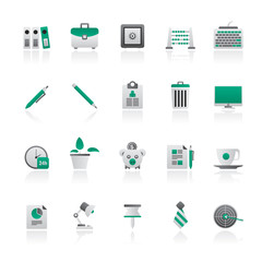 Business and office equipment icons - vector icon set 1