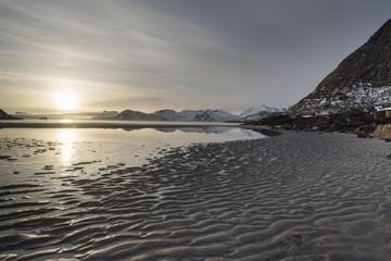 Scenic view of sunset over sea, Lofoten, Nordland, Norway