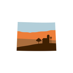 Colorado State Shape with Farm at Sunset w Windmill, Barn, and a Tree