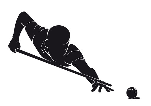 Billiard player with cue and ball silhouette