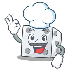 Chef dice character cartoon style