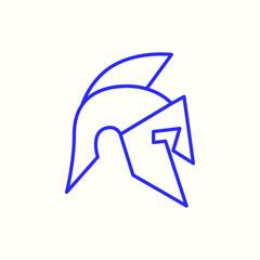 Knight Helmet Mono Line Logo Design Template. Knight Helmet Logotype Isolated. Knight Helmet Vector Illustration.