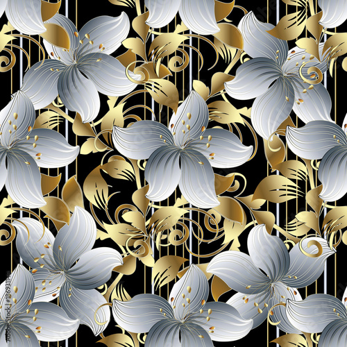 3d Flowers Vector Seamless Pattern Black Striped Floral Background Wallpaper With Vintage White