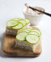 Sandwich with cucumber and smoked salmon cream
