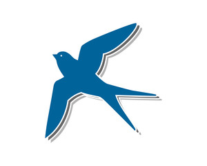 blue swallow bird flying silhouette image vector