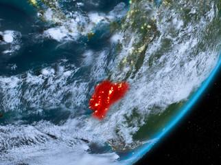 Fotobehang Zeilen Orbit view of Ecuador at night