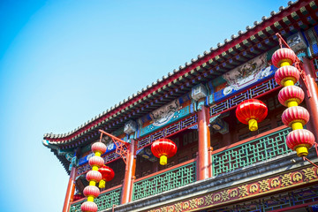 Chinese lantern and pavilion. Located in the Tianjin Ancient Culture Street, Tianjin, China. Papier Peint