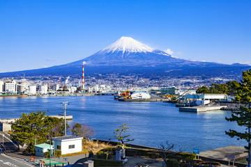 Wall Mural - 冬の富士山、静岡県富士市田子の浦港にて