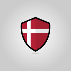 Danish Flag Flat Vector Shield Badge