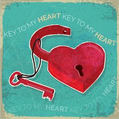 Retro heart shaped padlock and key rustic texture