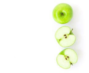 Closeup top view green apple on white background, fruit for healthy diet concept