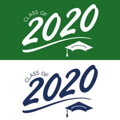 Class of 2020 Congratulations Graduate Typography with Cap and Tassel