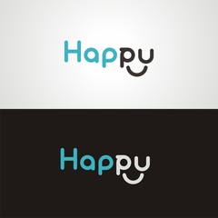 "Text ""Happy"" with round lettering"