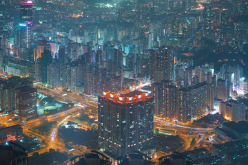 Hong Kong residential density at night.