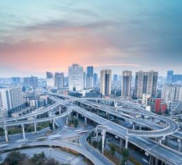city interchange at dusk