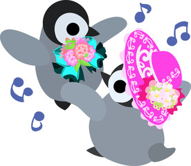 The stylish pretty penguin babies which are dancing