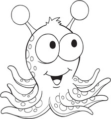 Canvas Prints Cartoon draw Cute Silly Monster Alien Vector Illustration Art