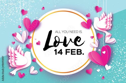 Happy Valentine day. Romantic Holidays.14 February. Circle frame ...