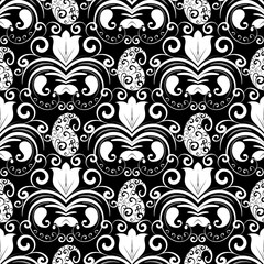 Paisley seamless pattern. Vector black and white floral background with patterned paisley flowers, swirls, dots, tulips, curve lines, vintage  ornaments. Isolated design for wallpapers, fabric, prints