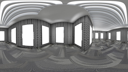 3d illustration spherical 360 vr degrees, a seamless panorama of the room and office interior design (3D rendering) for display or montage your products.Mock up for display of product