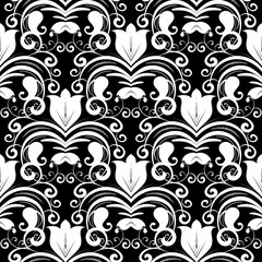Damask seamless pattern. Vector black and white floral background with tulip flowers, swirls, dots, curve lines, vintage paisley ornaments. Isolated design for wallpapers, fabric, prints