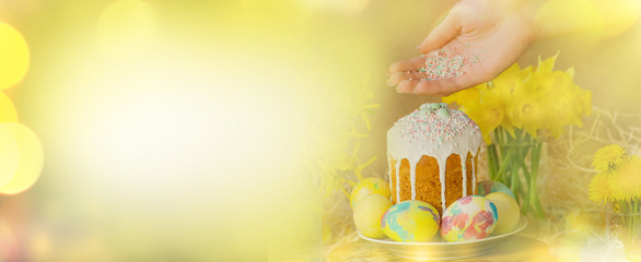 Easter eggs holidays decoration. Easter background with Easter eggs, Easter cake  and  flowers.