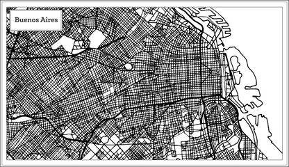 Buenos Aires Argentina City Map in Black and White Color.