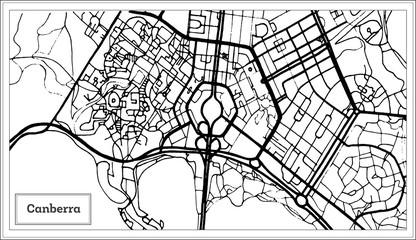Canberra Australia City Map in Black and White Color.