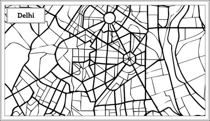 Delhi India City Map in Black and White Color.