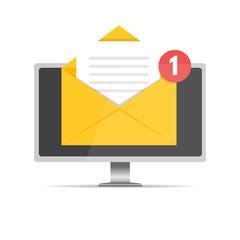 Get email concept. Desktop with notification. Vector illustration.