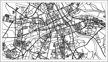 Warsaw Poland Map in Black and White Color.