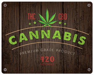 Rustic Cannabis Marijuana Logo and background