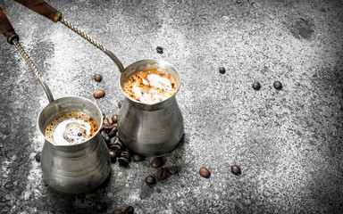 Fresh coffee in the Turks.