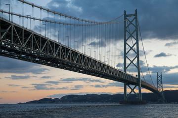 Poster Bridge Akashi Strait Bridge, the longest suspension bridge in the world