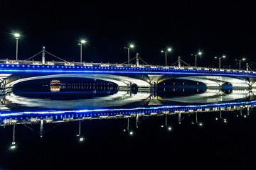 Futuristic Bridge in Beijing, China at Night