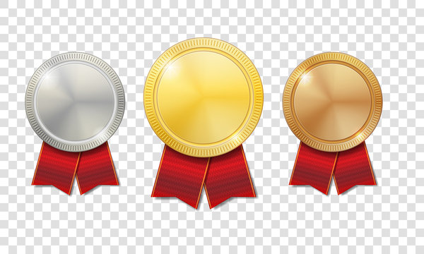 Gold, silver and bronze shiny medals with red ribbons isolated on transparent background. Champion Award Medals sport prize. Vector illustration