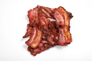 crispy fried bacon isolated on a white background.