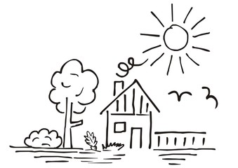 House and garden, hand drawing, vector illustratio, landscape