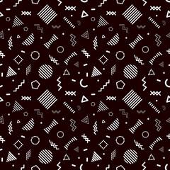 Memphis style seamless pattern on black background