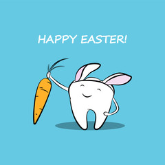 A funny cartoon tooth with carrots and bunny ears. Vector easter illustration for dentistry.