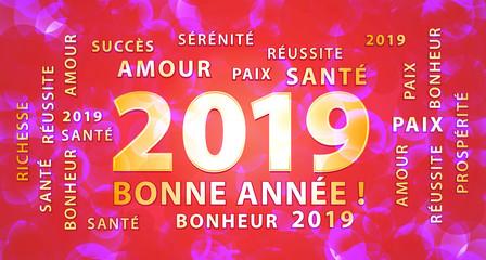 Bonne année 2019 ! Bannière de vœux rose, rouge et or. Fond graphique et festif.