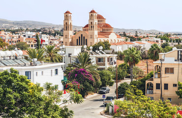 Poster de jardin Chypre View of Paphos with the Orthodox Cathedral of Agio Anargyroi, Cyprus.