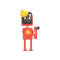 Robot fireman character, android in red uniform holding extinguish in its hands cartoon vector illustration