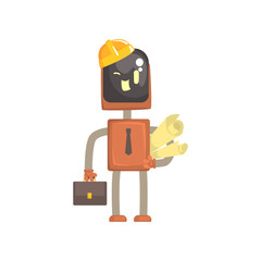 Robot architect character, android standing with briefcase and paper rolls cartoon vector illustration