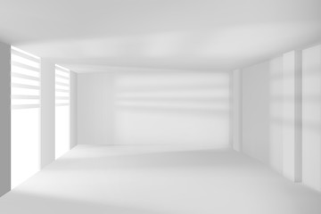 Modern room with white walls and windows empty .HI-TECH room Vector illustration.